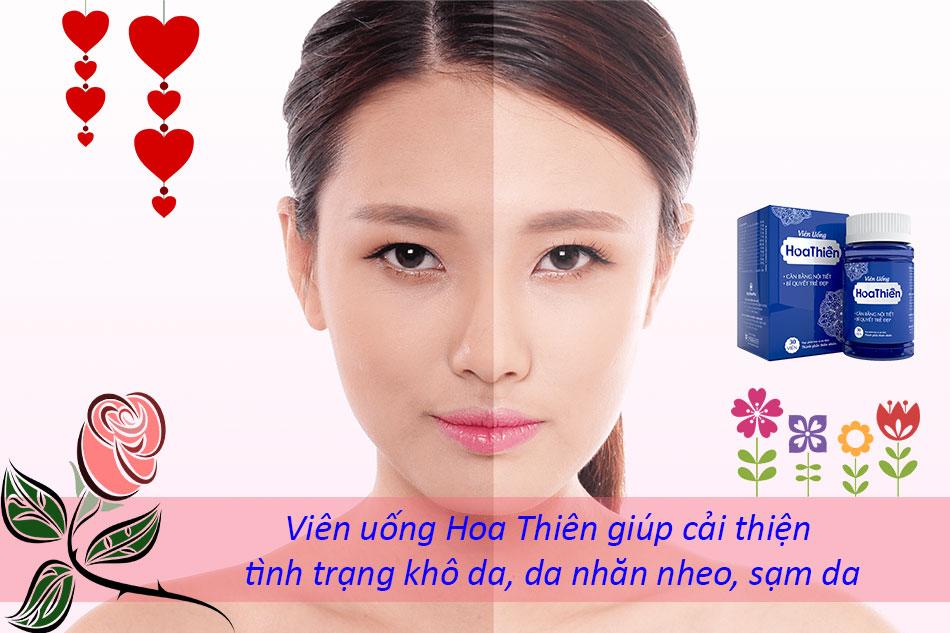 Viên uống Hoa Thiên còn giúp cải thiện tình trạng khô da, da nhăn nheo, sạm da