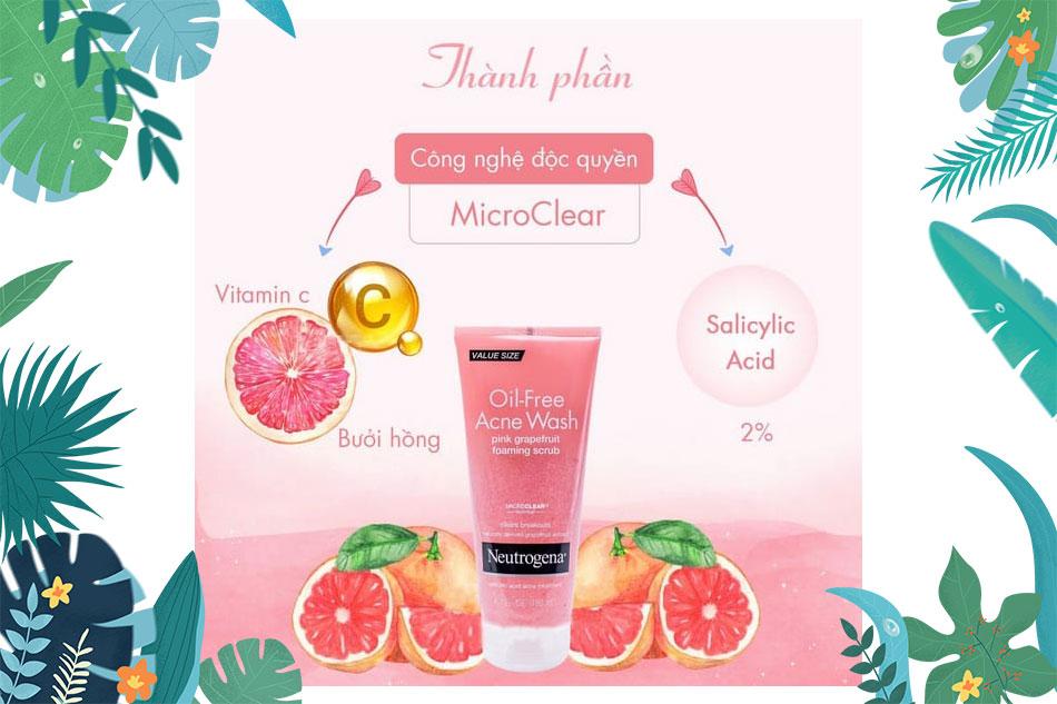 Neutrogena Oil-Free Acne Wash chiết xuất từ bưởi và vitamin C