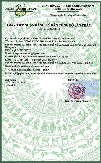 Erocante được chứng nhận bởi Bộ Y Tế