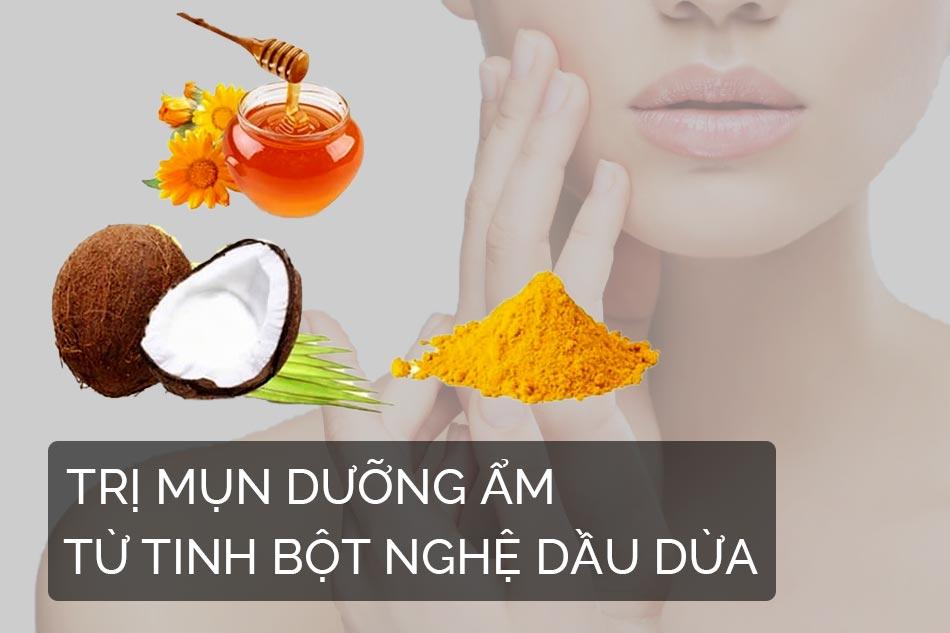 Trị mụn dưỡng ẩm từ tinh bột nghệ dầu dừa