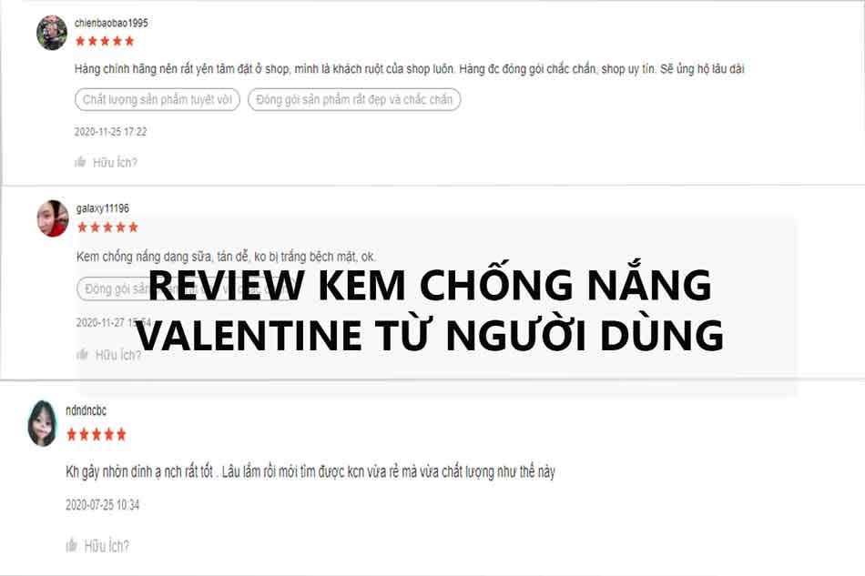 Review kem chống nắng Valentine từ người dùng